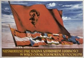 Vintage Russian poster - The immortal name of Stalin is a banner for mankind  1953